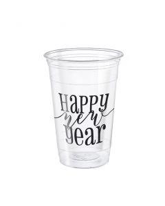 Unique Happy New Year 2019 16oz Plastic Cups, Transparent Black, 8 CT
