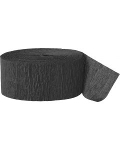 Unique Crepe Paper Party Decor Roll Solid 81' Streamers, Black