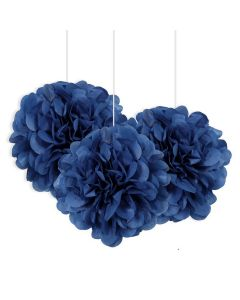 """Unique Solid Color Small Flower Puff Balls 9"""" Hanging Decorations, Blue, 3 CT"""