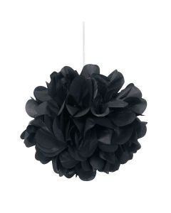 """Unique Solid Color Small Flower Puff Balls 9"""" Hanging Decorations, Black, 3 CT"""