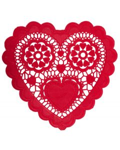 "Unique Intricate Heart-Shaped Valentine's Day 10"" Doilies, Red, 12 CT"
