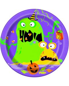"""Unique Silly Monsters Fun Halloween 7"""" Appetizer Plates, Purple, 8 CT"""