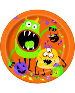 "Unique Silly Monsters Fun Halloween 8.75"" Lunch Plates, Orange, 8 CT"