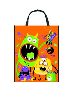 """Unique Silly Monsters Plastic 15"""" Trick or Treat Tote Bag, Orange"""