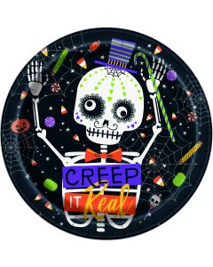 "Unique Creep It Real Halloween Round 8.75"" Lunch Plates, Black, 8 CT"