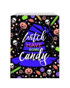 "Unique Witch Paper Goodie Bags Halloween 9"" x 6.5"" Favor Bags, Black, 8 CT"