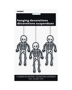 "Unique Friendly Skeleton 8"" Hanging Decorations, Black White, 3 CT"
