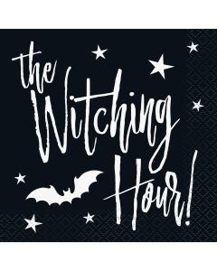 "Unique Halloween Witching Hour Bat 10"" Beverage Napkins, Black, 24 CT"