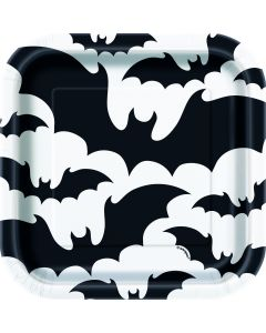 """Unique Bats Square Plates 7"""" Appetizer Plates, White Black, 10 CT"""