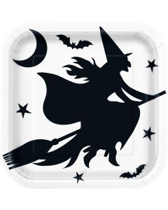 "Unique Halloween Witch Bats Square 9"" Lunch Plates, White Black, 8 CT"