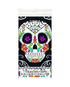 "Unique Day of the Dead Halloween 54"" x 84"" Plastic Tablecover, Black"