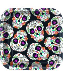 """Unique Square Day of the Dead Halloween 7"""" Appetizer Plates, Black, 10 CT"""
