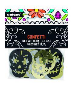 Unique Foil Confetti Sugar Skulls 14g Party Confetti, Black Silver Gold
