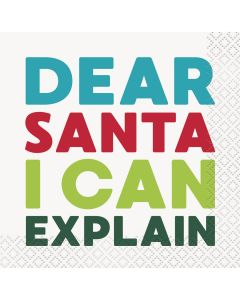 "Unique Colorful ""Dear Santa I Can Explain"" 2-PLY 10"" Beverage Napkins, 16 CT"