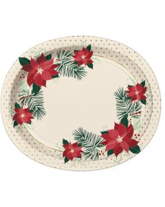 "Poinsettia Fancy Holiday Large Durable Paper 12.5"" Oval Plates, Red Ivory, 8 CT"