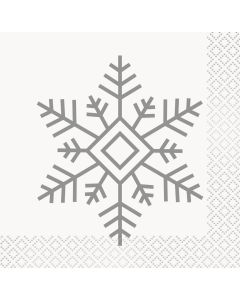 "Unique Holiday Snowflakes Design 2-PLY 10"" Beverage Napkins, Silver, 16 CT"