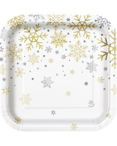"""Holiday Snowflakes Foil Design Square Paper 7"""" Dessert Plates, Silver Gold, 8 CT"""
