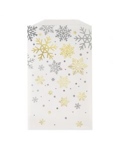 """Unique Holiday Snowflake Glassine Frosted Treat 7"""" Favor Bags, Silver Gold, 8 CT"""