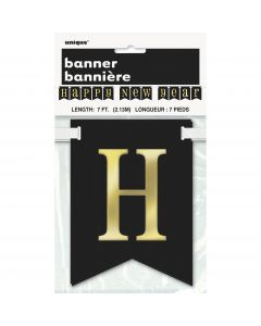 "Unique Happy New Year Classic 84"" Pennant Banner, Silver Gold Black"