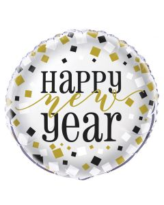 "Unique Happy New Year Squares Round 13.75"" Foil Balloon, Silver Gold Black"