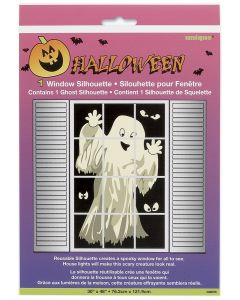 "Ghost White Figure Window Silhouette 48""hx30""W Window Clings, Black"