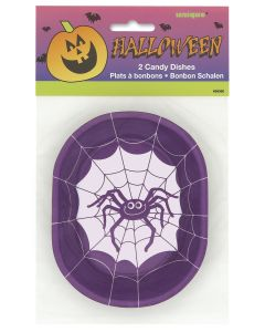 "Festive Spider Halloween Candy Dish 5.5"" Serving Bowls, Purple White, 2 CT"