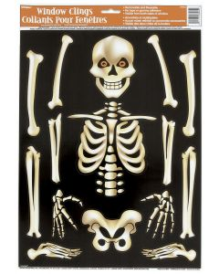 "Unique Reusable Evil Smiling Skeleton 15pc 28"" Window Cling, Off-White"
