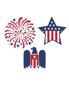 "Unique Patriotic Stars and Stripes Assorted 6pc 5"" Cutouts, Red White Blue"