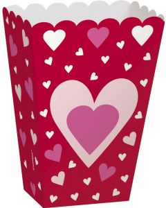 """Unique Valentine's Day Hearts 5""""x3"""" Treat Favor Boxes, Red Pink, 6 CT"""