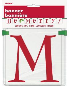 "Unique Cheerful ""Be Merry"" Festive Holiday 5' Block Banner, Red Green"