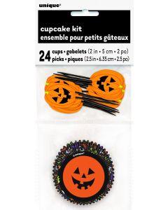 Halloween Party Pumpkin Jack O Lantern Faces 48pc Standard Size Cupcake Kit