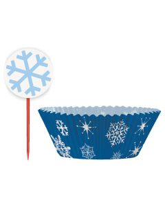 Falling Snowflakes Winter Holiday 48pc Standard Size Cupcake Kit, Blue White
