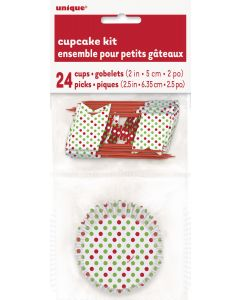Unique Holiday Polka Dot 48pc Standard Size Cupcake Kit, White Red Green