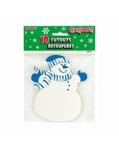 """Unique Mini Christmas Snowman Decoration 5"""" Cutouts, Blue White, 10 CT"""