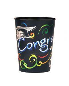 Unique Congrats Grad Chalkboard Graduation Hard 16oz Plastic Cup, Black