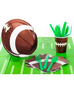 Champion Tailgate Football Party Tableware 48pc Party Pack, Brown Green White