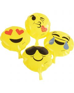 "Smile Face Novelty Emoji Prank Toy 6.5"" Whoopee Cushion, Yellow Black, 12 Pack"