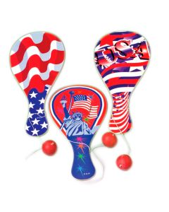 "US Toy Patriotic Stars Stripes Paddle Ball Toy 9"" L Party Favor, Red White Blue"