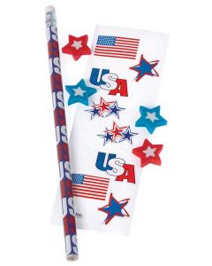 "US Toy Fourth of July Patriotic 6pc 7 1/2"" Favor Bags, Red White Blue"