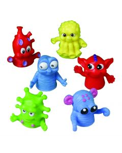US Toy Big Eyed Monsters 1.5 in Finger Puppets, Assorted, 12 Pack