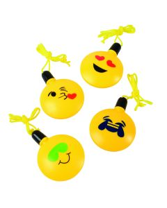 """US Toy US Toy Classic Trending Emoji Bubble Kids 3.5"""" Necklaces, Yellow, 12 Pack"""