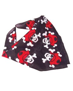 US Toy Children's Skull And Crossbone Pirate Bandana, Black Red, One-Size 20""