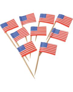 "US Toy USA Flag Stars And Stripes 2.5"" Appetizer Picks, Red White Blue, 144 Pack"