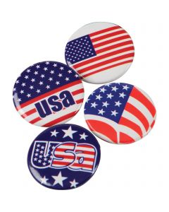 "Assorted USA Patriotic Style Buttons  1"" Party Favors, Red White Blue, 24 Pack"