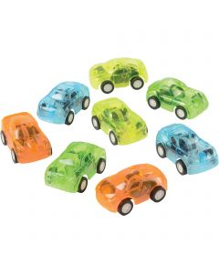 "U.S. Toy Transparent Pull Back Race 1.75"" Play Vehicles, Assorted, 8 Pack"