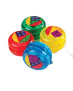 """US Toy Block Mania Mini Yo-Yos 1.25"""" Toy Fillers, Assorted, 12 Pack"""