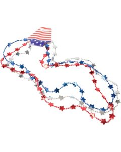 "Patriotic Flat Star Bead Necklaces 32"" Party Favors, Red White Blue, 3 Pack"