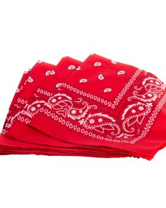"""US Toy Classic Paisley Design Cowboy Square Bandana, Red, One-Size 20"""", 12 Pack"""