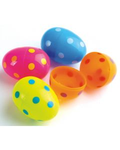 "US Toy Polka Dot Plastic 2.25"" Fillable Easter Eggs, Assorted, 12 Pack"