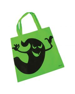 """Halloween Ghostly 16"""" Candy Trick-or-Treat Tote Bag with Handles, Green"""